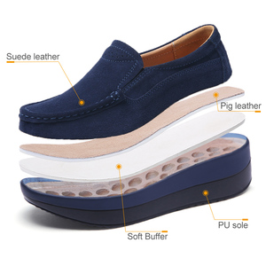 Image 3 - STQ 2020 סתיו נשים שטוח פלטפורמת נעלי גבירותיי זמש עור שטוח נעלי נשים להחליק על נעליים יומיומיות מוקסינים מטפסי 828