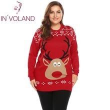 IN'VOLAND Big Size XL-4XL Women Sweater Pullover Autumn Winter O-Neck Long Sleeve Print Christmas Thin Knit Large Tops Plus Size