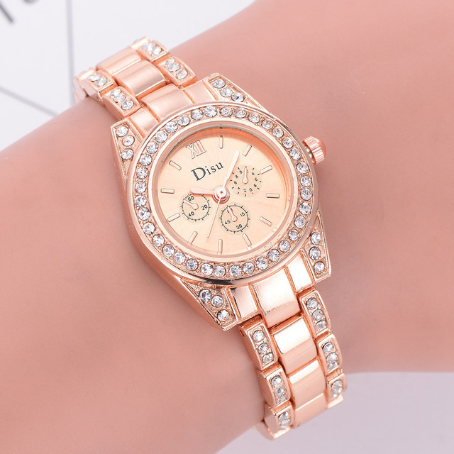 Butterfly Rose Gold Plated Women's Elegant Luxury Rhinestone Bracelet Quartz Wat