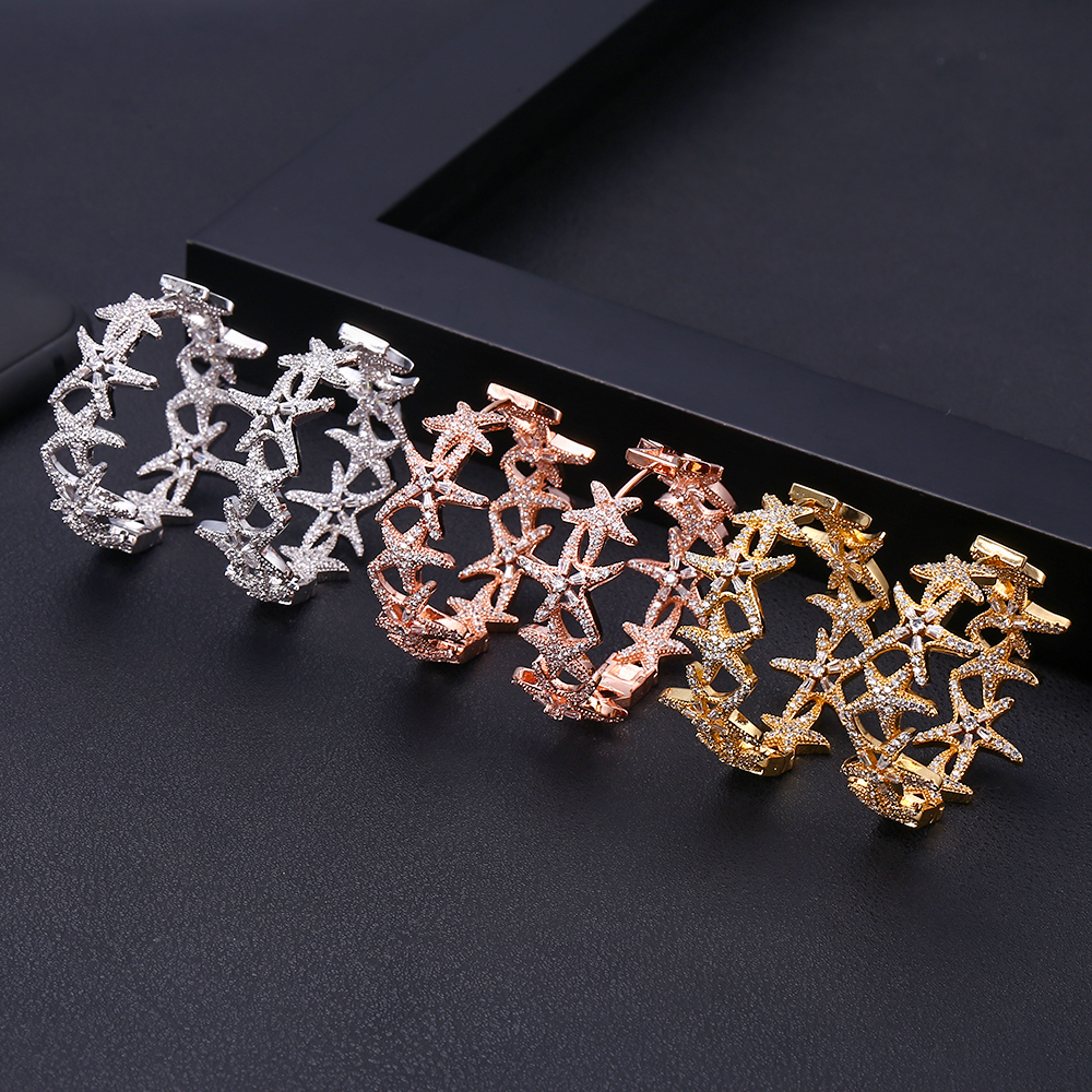 Janeklly Trendy Geometric Jewel  Hoop Earrings For Women Accessories Full Cubic Zirconia Earrings Jewelry Pendientes Mujer Moda