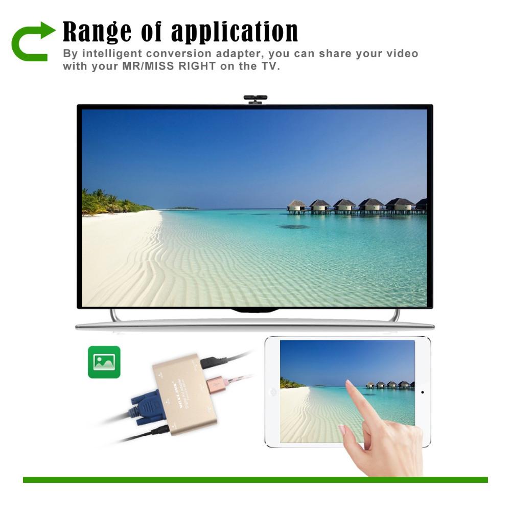 VOXLINK 3 in 1 Micro USB to HDMI VGA +Audio Video Converter Digital ...