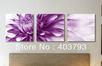 3panels abstract Purple chrysanthemum oil painting of modern oil painting on canvas Free shipping
