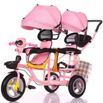 цена 2019 New Children's Double Tricycle Stroller Baby Stroller Twin Baby Carriage Pushchair Cart Pneumatic Wheel1-6Y онлайн в 2017 году