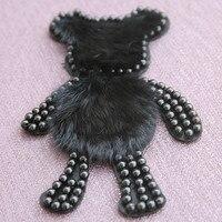 1 шт. большой бисером черный медведь патчи с мехом вышивать на пачках значок для одежды джинсы куртки жилет сумка Украшение