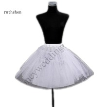 In Stock White Tulle Short Knee Length Crinoline Petticoat 3 Layer Underskirt DS0816