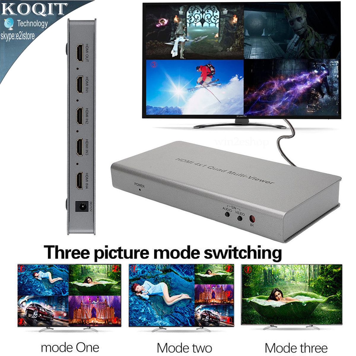 4 Port 4X1 HDMI Multi-viewer Quad Screen Real Time Multiviewer Converter Seamless Switcher Function 1080P 3D + Remote Control 4x1 hdmi multi viewer switcher hdmi quad screen real time multiviewer with hdmi fast switching function full 1080p 5 modes
