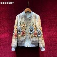 Осеннее дизайнерское роскошное розовое пальто, элегантные женские жаккардовые повседневные куртки бомбер с цветочным принтом и бусинами,