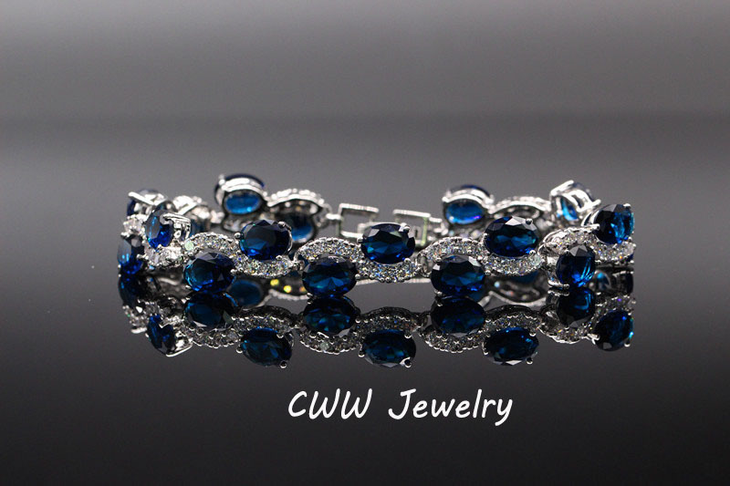 Cwwzircons бренд Красивая Белое золото Цвет звено цепи модные женские туфли multi Цвет CZ Браслеты женских украшений cb115 - Окраска металла: blue