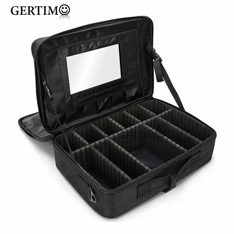 New Makeup Bag With Mirror Large Capacity Women Professional Cosmetic  Manicure Bag Portable Make Up Organizer Storage Bags