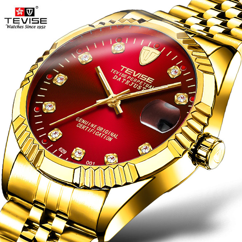 2018 New TEVISE Brand Luxury Men Automatic Watch Man Tourbillon Role Mechanical Watches Movement Gold Clock Relogio Masculino