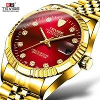 O transporte da gota tevise marca de luxo masculino relógio automático homem tourbillon relógios mecânicos movimento relógio ouro relogio masculino