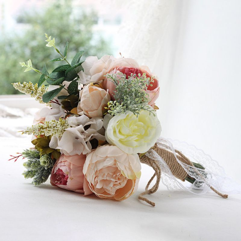 Bridal Bridesmaid Wedding Holding Bouquet Artificial Flower Vintage Rustic Style Lace Ribbon Linen Rope Bowknot Party Decoration