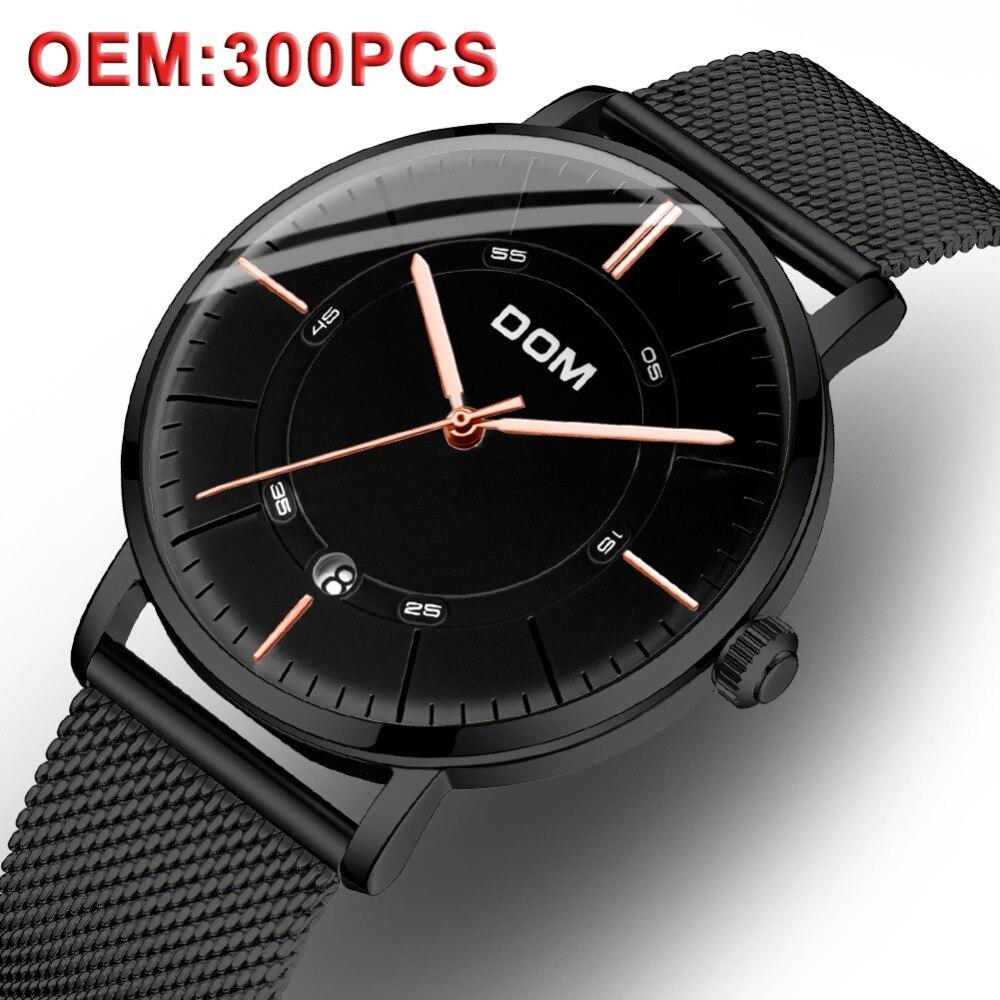 DOM на заказ свой собственный логотип Для мужчин механические часы Для мужчин Элитный Бренд черные часы Бизнес Для мужчин s Водонепроницаемый Высокое качество наручные часы купить на AliExpress