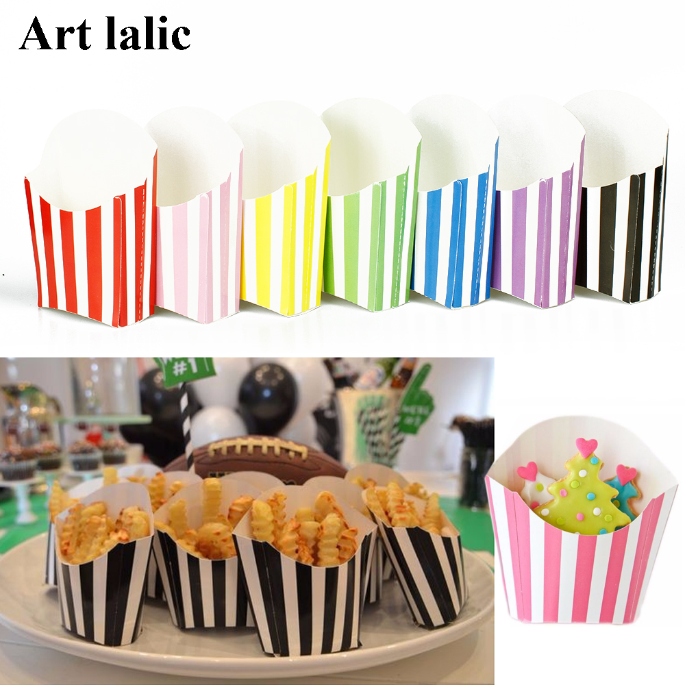 12Pcs/lot Stripes / Dots Fry Containers French Fry Boxes for <font><b>party</b></font> decoration wedding <font><b>party</b></font> supplies <font><b>Party</b></font> <font><b>Favor</b></font> Boxes CP100