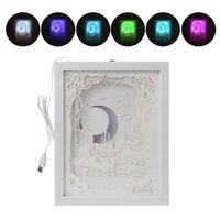Papercut Light Box LED USB Night Light Lamp Creative Paintings Moon Lovers