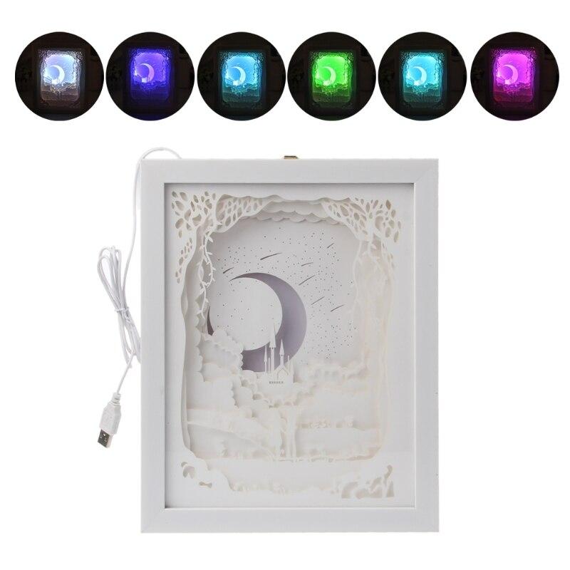 Papercut LED Light Box USB ночник лампа творческие Картины любителей луна