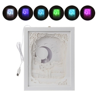 Papercut Light Box LED USB Night Light Lamp Creative Paintings Moon Lovers