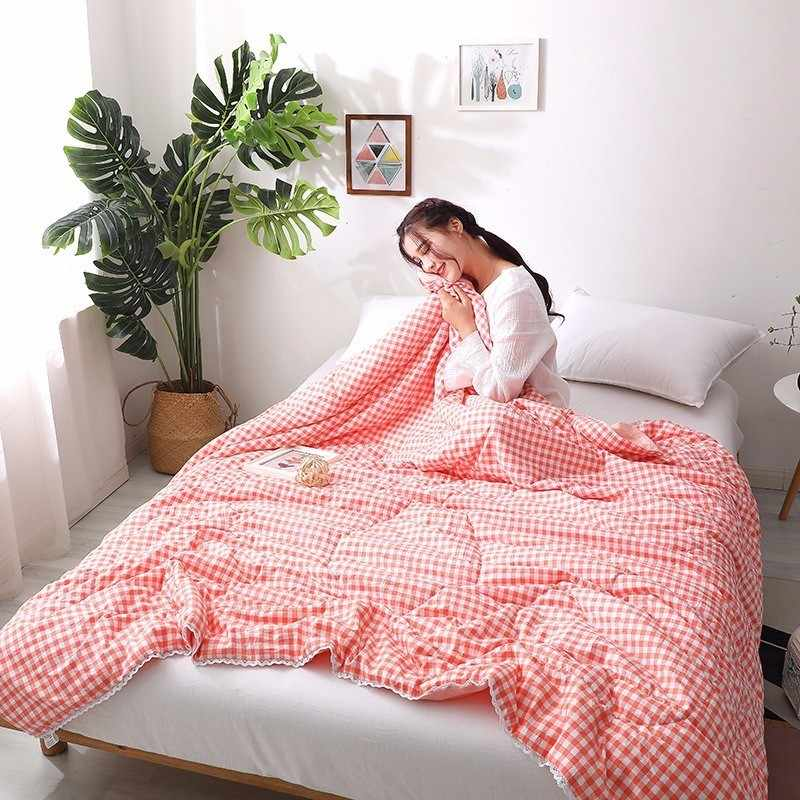 Blue Thin Comforter Quilt High Quality Soft Washed Cotton Bedspreads 150*200 180*220 200*230 Bed Cover Blankets