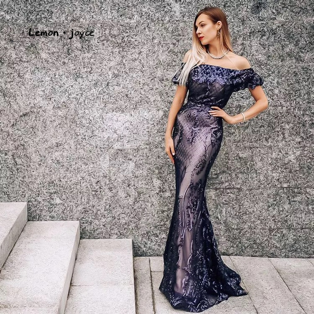 Lemon joyce Formal Evening Dresses Long 2019 Elegant Sequins Simple Prom Party Gowns Plus Size reflective