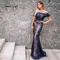 Lemon joyce Formal Evening Dresses Long 2019 Elegant Sequins Simple Prom Party Gowns Plus Size reflective robe de soiree