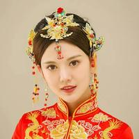 Idealway Chinese Traditional Bride Handmade Costume Gold Plated Bridal Headwear Accessories Wedding Engagement Hair Jewelry