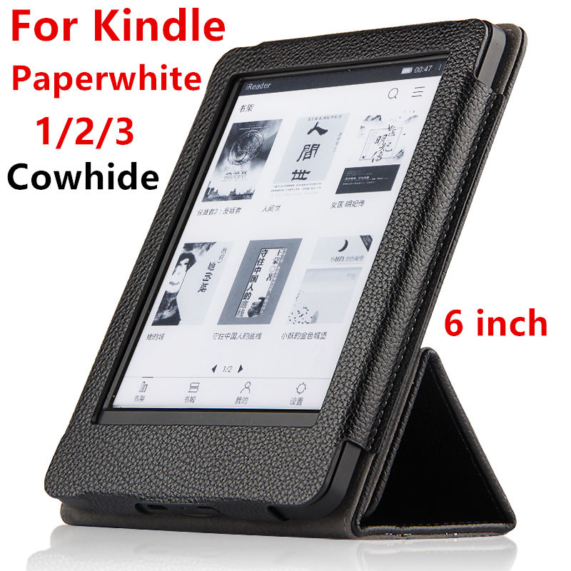 Case Cowhide For Amazon Kindle Paperwhite 3 2 1 Protective eBook Reader Smart Cover Protector Genuine leather Sleeve 6'' Cases pu leather ebook case for kindle paperwhite paper white 1 2 3 2015 ultra slim hard shell flip cover crazy horse lines wake sleep