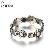 Chandler 925-sterling-silver Antique Sunflower Rings Unisex Engagement Bague Adjustable Chunky Solild Silver 925 Stamp Wholesale(China)