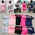 Мода новый 2016 женщин в. с. любовь розовый костюмы качество коротким рукавом костюмы топы толстовка с капюшоном n шорты 2 шт. набор
