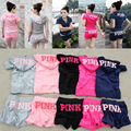 Fashion new 2016 women's vs love pink suits quality short sleeve tracksuits tops hoodie n shorts 2 piece set