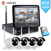 4CH 1080P Wireless NVR Kits 10' LCD display HD Outdoor Security 2MP IP Camera Video Surveillance Kit Wifi CCTV Camera System недорого