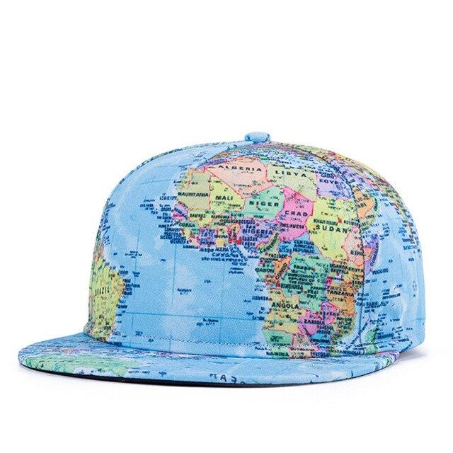 Летний стиль Snapback Gorras шляпу бон плоским бейсболка 3D печать карта мира регулируемая хип-хоп водителя грузовика кости шапки