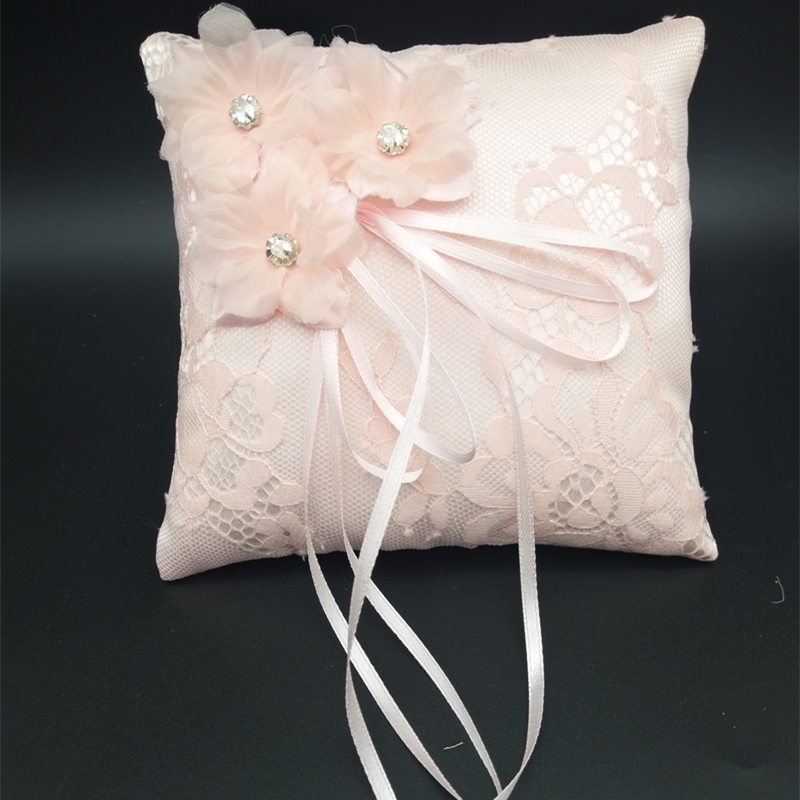 New Wedding Ring Pillow With Ribbons 15x15cm Lace Wedding