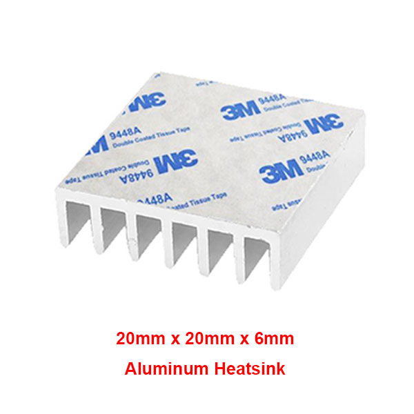 20x20x6mm Aluminium Heat Sink Black