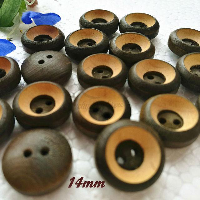 144 Stücke 14mm 2 Löcher Ball Schüssel Form Bräunlich Grün Buchsbaum Hemd  Tasten Hochgradigen Holz