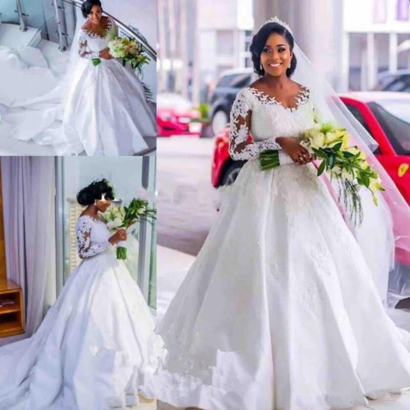 African Plus Size Wedding Dresses Scoop Lace Appliques Satin long Train Wedding Gowns Black Girls Formal Country Bridal Dresses