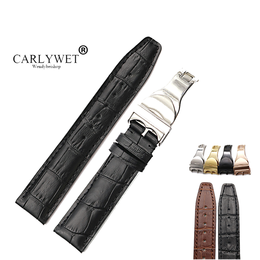 CARLYWET Wholesale 20 21 22mm Brown Black Genuine Leather Band Wrist Watch Strap Belt Replacement For Tudor Rolex Omega IWC Tag цена и фото