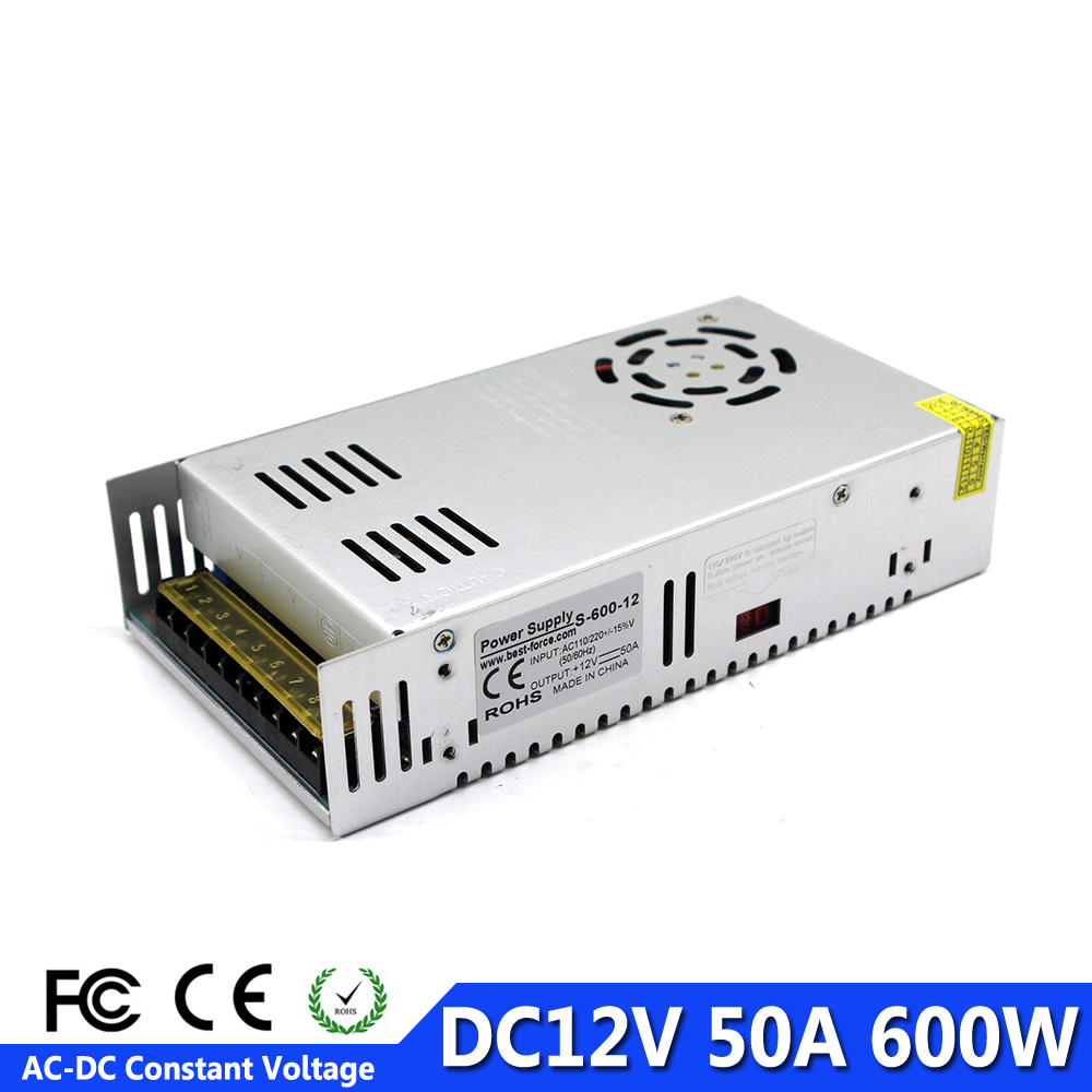 LED Power Supply DC 12V 50A 600W Power Adapter Driver Transformer 110V 220V AC DC dc12v
