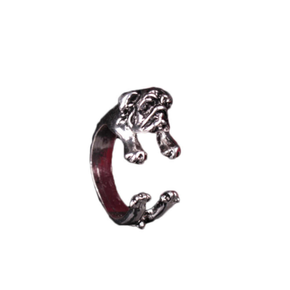 Fashion Rings 1PCS Famous Handmade Pug Dog Ring Fashion Jewelry Animals Ring For women men teens Adjustable Dog Ring 2018