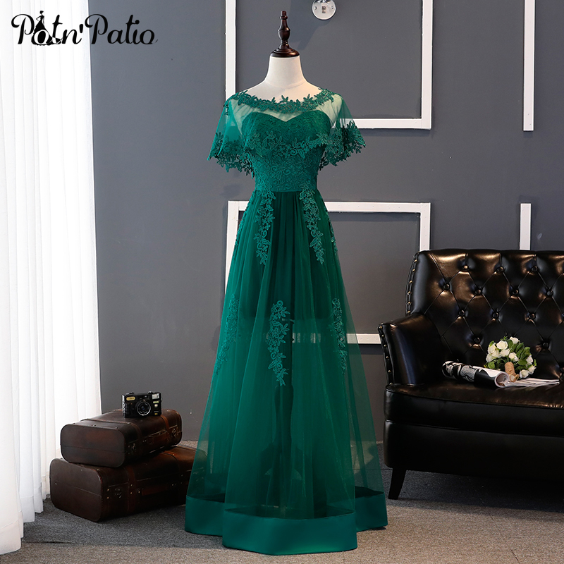 Sexy Green   Prom     Dresses   Long 2019 New Elegant Sweetheat Luxury Lace Appliques Tulle Floor-Length Evening Party   Dress   With Jacket