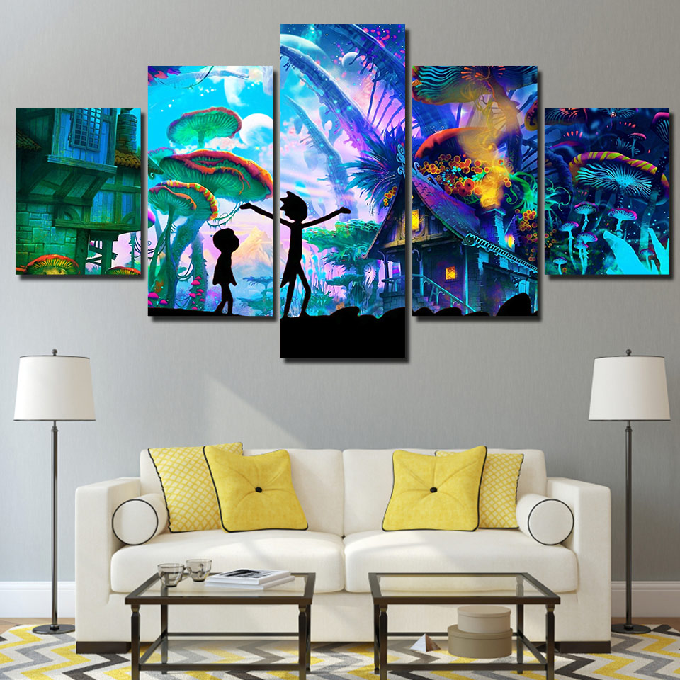 5 Panels Canvas Painting rick and morty poster Home Decor Living room Wall Art Painting Picture Printed Decoration Salon HA152C in Painting Calligraphy from Home Garden