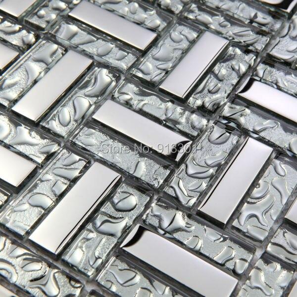 € 208.61 |Carreaux de mosaïque de verre pour salle de bains murs dosseret  de cuisine autocollants SXG373 3d bande cristal métal dessins revêtement  pas ...