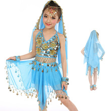 colors Belly Dance Costumes Kids New Style Child  Dancing Girls Bollywood Indian Performance Cloth Dress 6pcs/set