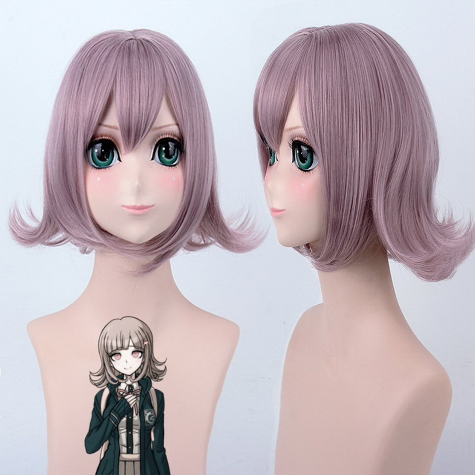 Danganronpa Nanami ChiaKi Short Wavy Hair Anime Cosplay Wig Synthetic Mix Purple Pink Halloween Costume Womens Wigs With Bangs