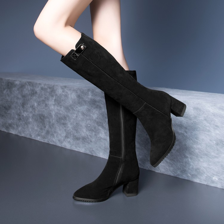Gruesas Mujeres De Las Vaca Rodilla Negro Alto Tamaño Calidad Mujer 2019 Zapatos Alta Cuero Nuevo Tacón Ante Botas Más {zorssar} R6CYE