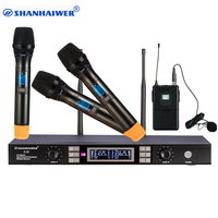 Made in China professional UHF 4 Channels mics studio digital wireless microphone system with handheld and Lavalier megafone