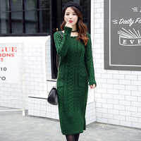 Womens Sweater Dress 2018 Long Sleeves Fashion Elegant Knitted Dresses Sexy Slim Party Autumn Winter O-neck Sweaters Dress