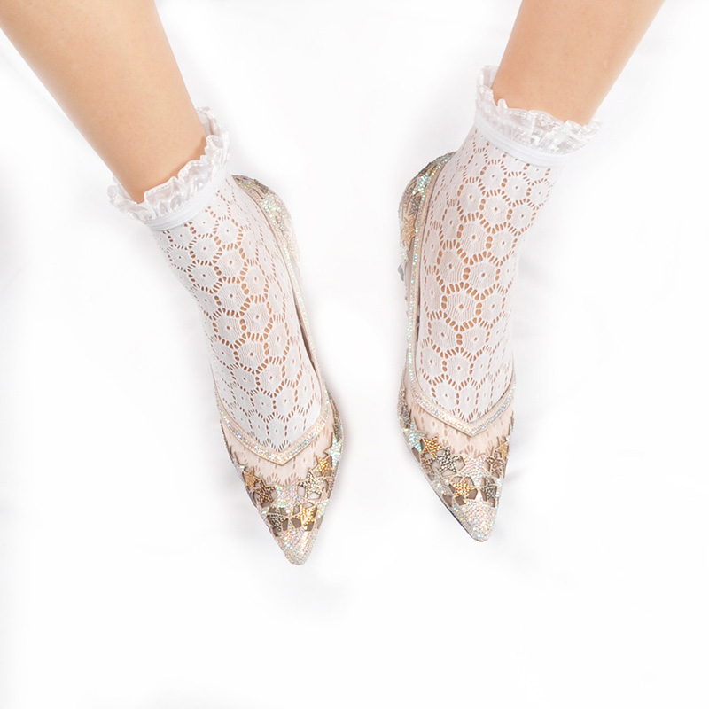 HTB1NMn X.GF3KVjSZFoq6zmpFXaB - Fashion White Lace Socks For Women Transparent Short Socks Ankle Lady Sexy Harajuku Fishnet Socks Female Dress Hosiery Socks
