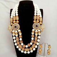 Latest Luxury African Wedding Jewelry Set Fabulous Gold Beaded White Arabic Indian Bridal Beads Necklace Set for Women ABH509