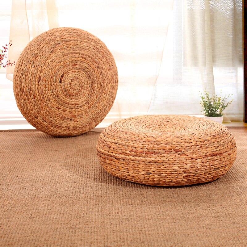 Natural Handmade Round Meditation Cushion Straw Cushions ...