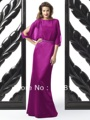 Plum Chiffon Blouson 3/4 Split Sleeves Full Length Mother of the Bride Dress with Sequined Sash Free Shipping Style 6232